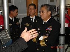 Visit of Vice Admiral Alexander P. Pama, Flag Officer-in-Charge of the Philippine Navy, to the Westport GRC43m Composite Fast Patrol Vessel Series.  20 October 2011, Newport, Rhode Island